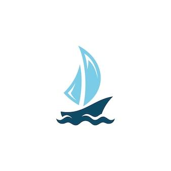 Barca nave vela vela icona sagoma logo concept