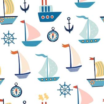 Modello senza cuciture di barche. barche a vela, ancora e volante del fumetto. vita marina. motivo marino per tessuto, abbigliamento per bambini, sfondo, tessuti, carta da imballaggio e altre decorazioni. vettore