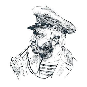 Nostromo con tubo. capitano di mare, vecchio marinaio o giacca blu, fischietto e marinaio con barba o uomini di mare. viaggiare in nave o in barca.