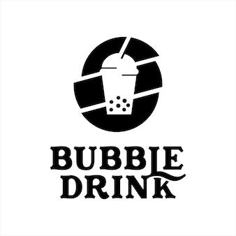 Boba logo design bubble tea vector