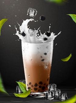 Elemento di tè boba con schizzi di latte in tazza di vetro su sfondo nero, illustrazione 3d