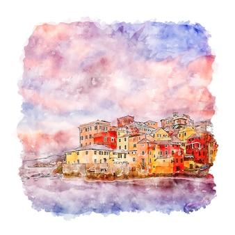 Illustrazione disegnata a mano di schizzo dell'acquerello di boccadasse italia
