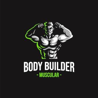 Modello di vettore del logo della mascotte del body builder