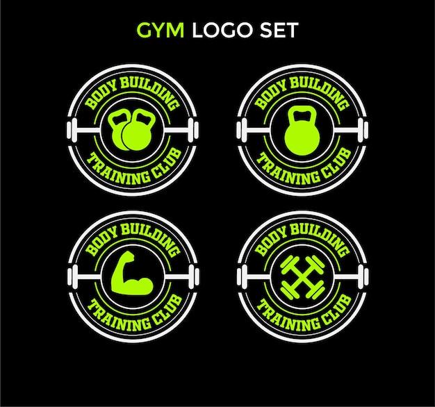 Modello di set di logo del club di allenamento per body builder