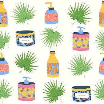 Modello senza cuciture di bellezza per la cura del corpo con bottiglie lozioni tubi crema idratante e foglie su bianco bottiglie cosmetiche colorate disegnate a mano