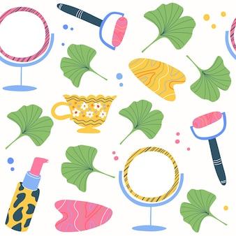 Modello senza cuciture di bellezza per la cura del corpo con bottiglie specchio massaggiatore tubi crema idratante e foglie su bianco bottiglie e accessori per cosmetici colorati disegnati a mano