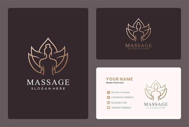 Design del logo per il massaggio del corpo con un fiore di loto.
