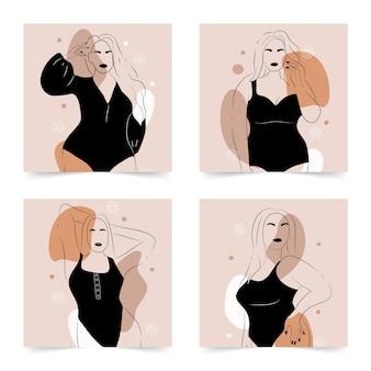 Corpo positivo. figura femminile minimalista astratta. donne eleganti lineari in lingerie e costume da bagno su forme semplici astratte.