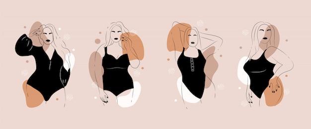 Corpo positivo. figura femminile minimalista astratta.