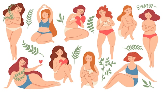 Corpo positivo. felice plus size belle donne in costume da bagno e biancheria intima che tengono cuori e abbracci ginocchia. insieme di vettore di cura di sé e amore femminile. personaggi di ragazze pacifiche in diverse posizioni