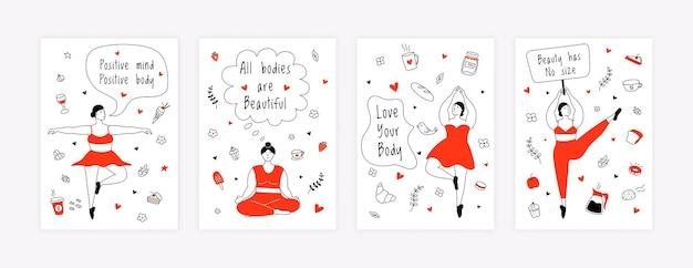 Poster positivi per il corpo empowerment femminile stile di vita attivo