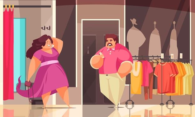 Composizione per lo shopping positiva per il corpo due in un negozio di taglie forti e sta benissimo nella nuova illustrazione di vestiti clothes