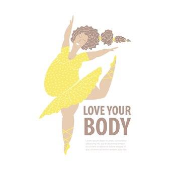 Modello positivo per il corpo. ballerina taglie forti con abito giallo. illustrazione vettoriale piatto isolato su sfondo bianco.