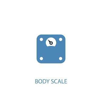 Icona colorata di concetto 2 della scala del corpo. illustrazione semplice dell'elemento blu. disegno di simbolo di concetto di scala corporea. può essere utilizzato per ui/ux mobile e web