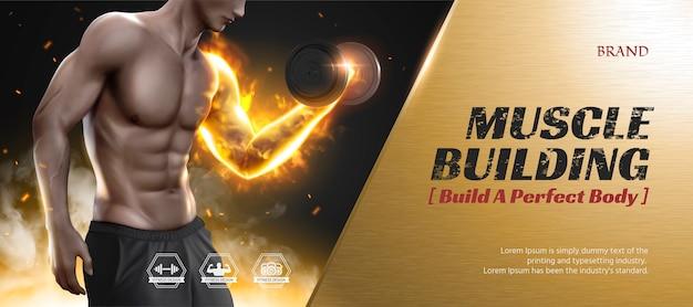 Banner pubblicitari del corso di formazione del corpo con uomo hunky che fa sollevamento pesi, struttura in metallo dorato
