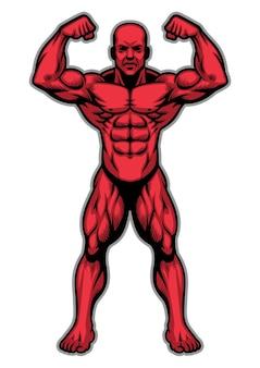 Atleta del bodybuilder che mostra il suo corpo muscolare