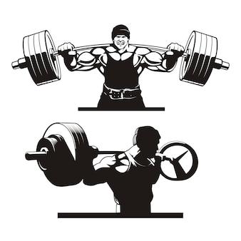 Bodybuilder facendo squat, set di immagini