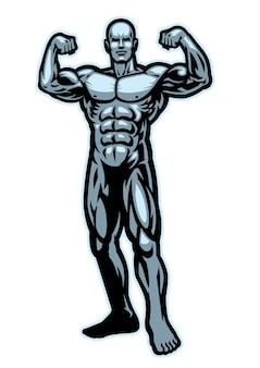 Culturista che flette la posa del muscolo isolata su bianco
