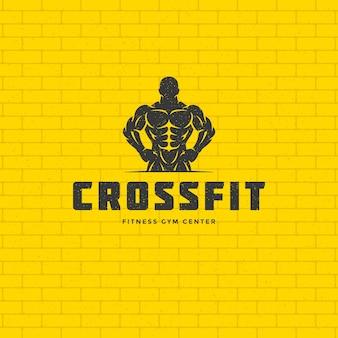 Bodybuilder uomo logo o distintivo illustrazione maschio bodybuilding simbolo silhouette