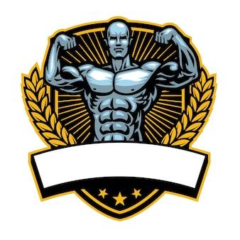 Distintivo di bodybuilding con banner bianco per il testo