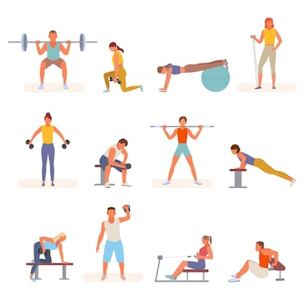 Fitness bodybuilding in palestra imposta illustrazione