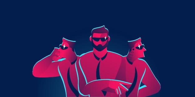 Illustrazione di concetto di sicurezza della guardia del corpo