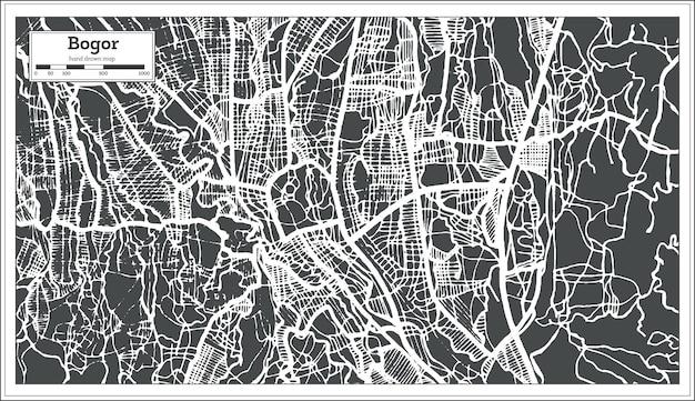 Mappa della città di bogor west java indonesia in stile retrò. mappa di contorno. illustrazione di vettore.