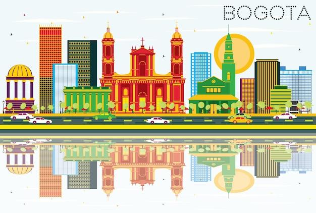 Orizzonte di bogota colombia con edifici di colore, cielo blu e riflessi. illustrazione di vettore. viaggi d'affari e concetto di turismo con edifici storici.
