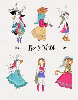 Ragazza alla moda bohémien, coniglietto e gatti, boho chic, stile zingaro