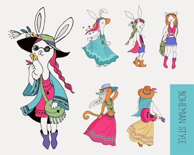 Ragazze alla moda bohemien, coniglietti e gatti, boho chic, stile gitano