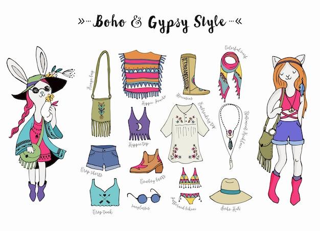 Set stile moda bohémien, boho e hippie, illustrazione di vestiti zingari