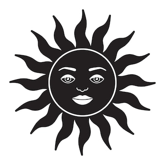 Illustrazione bohémien celeste design vintage sole con viso disegno stilizzato carta dei tarocchi mistico el...