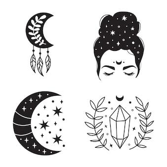 Illustrazione bohémien, design vintage celeste, sole con viso, disegno stilizzato, carta dei tarocchi. elemento mistico