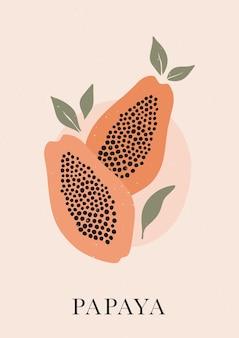 Stampa murale bohémien con papaya