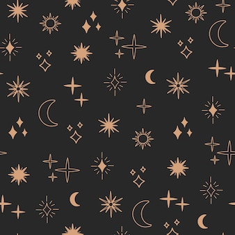 Boho astrologia e stella senza cuciture, concetto magico di notte celeste, oggetti luna e sole, simboli bohémien. arte linea oro, illustrazione vettoriale alla moda moderna in stile piatto scarabocchio, sfondo nero