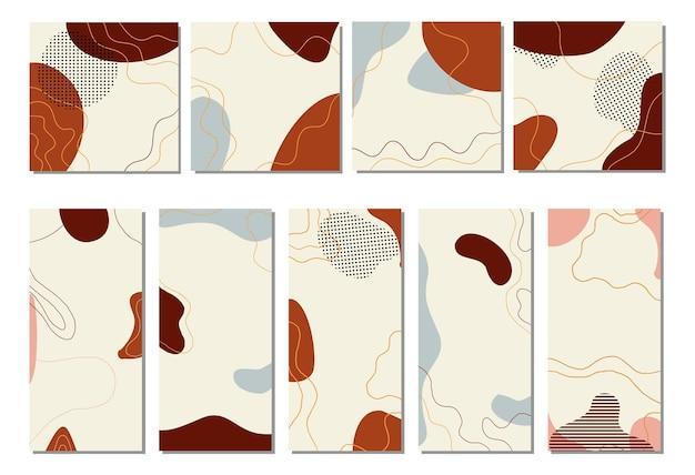Modelli eleganti di moda di sfondo boho con forma astratta organica