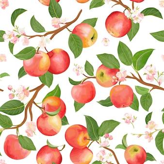 Reticolo senza giunte della mela botanica boho. vector frutti autunnali, fiori, foglie texture. sfondo floreale estivo, carta da parati naturale, tessuto moda sfondo acquerello, carta da regalo autunnale
