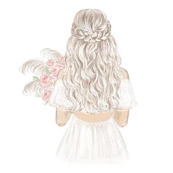 Illustrazione disegnata a mano di boho bride Vettore Premium