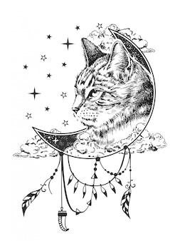 Illustrazione di gatto boho Vettore Premium