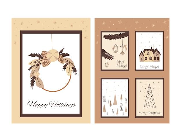 Set di carte natalizie boho in stile scarabocchio carino