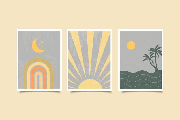 Collezione di paesaggi contemporanei boho