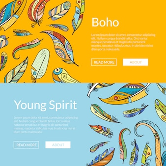 Insieme di modelli di banner web boho piume di doodle