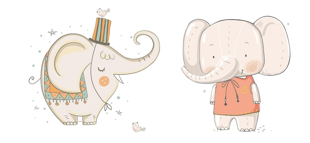 Collezione di elefanti boho illustrazione vettoriale per la progettazione di quaderni di pianificatori e altro ancora