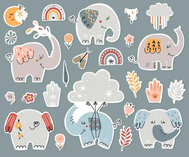 Collezione di adesivi di elefanti boho