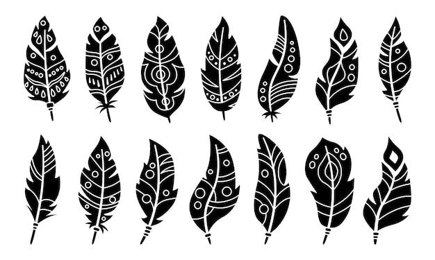 Set di sagoma nera piuma boho. piume di uccello glifo. stile etnico bohémien, simbolo indiano hipster