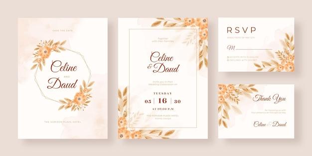Modello di carta di matrimonio ad acquerello floreale boho