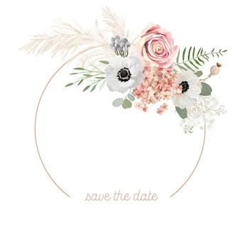 Blocco per grafici floreale di vettore di nozze di boho. erba di pampa dell'acquerello, anemone, modello di bordo di fiori di rosa per la cerimonia del matrimonio. biglietto d'invito primaverile minimo, banner estivo decorativo