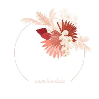 Blocco per grafici floreale di vettore di nozze di boho. erba di pampa acquerello, fiori di orchidea, modello di bordo di foglie di palma secche per cerimonia di matrimonio, biglietto d'invito minimo, banner estivo decorativo