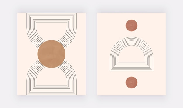 Stampa artistica da parete geometrica boho con forme e linee rotonde