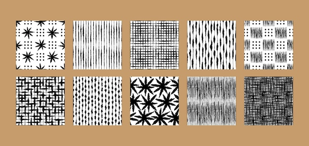 Boho hand drawn ink seamless patterns det